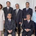 The seven Baha'i leaders who have now been held in Tehran's Evin Prison for a full year are, seated from left, Behrouz Tavakkoli and Saeid Rezaie, and, standing, Fariba Kamalabadi, Vahid Tizfahm, Jamaloddin Khanjani, Afif Naeimi, and Mahvash Sabet